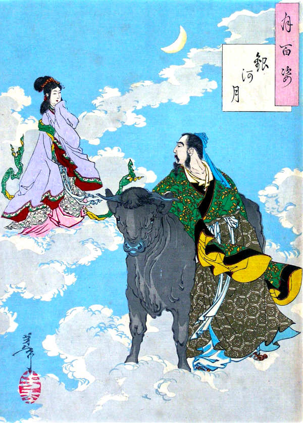 Japanischer Holzschnitt mit einer Darstellung des Märchens vom Kuhhirten und der Weberin